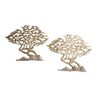 Brass Bonsai Tree Bijan Style Wall Hangings - a Pair For Sale
