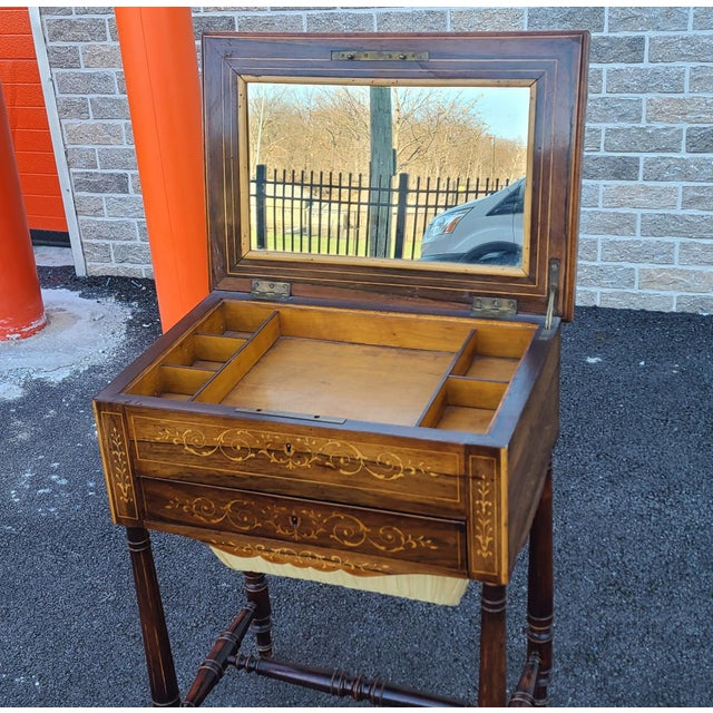 Brown Antique English Regency Inlaid Rosewood 19th Century Sewing Work Table C1890 For Sale - Image 8 of 13