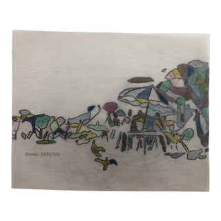 1970s Diana Eppston Landscape Beach Scene Drawing For Sale