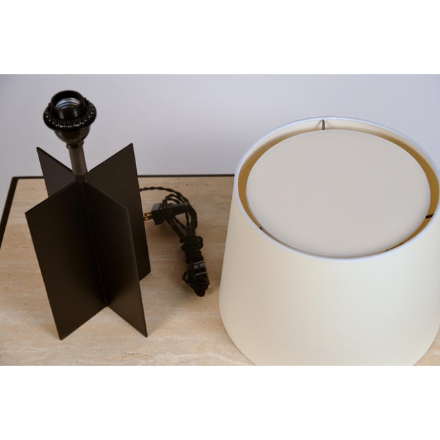 Iron Medium 'Croisillon' Matte Black Steel Table Lamps by Design Frères - a Pair For Sale - Image 7 of 11