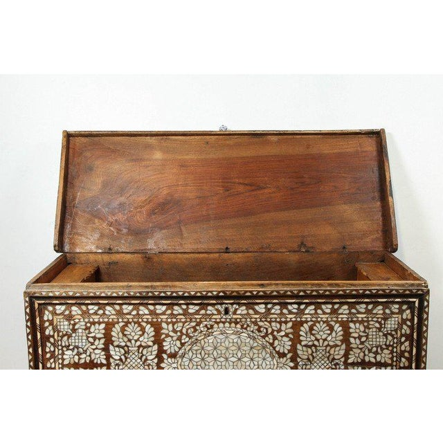 White 19th Century Antique Syrian Mother-Of-Pearl Inlay Wedding Trunk For Sale - Image 8 of 11