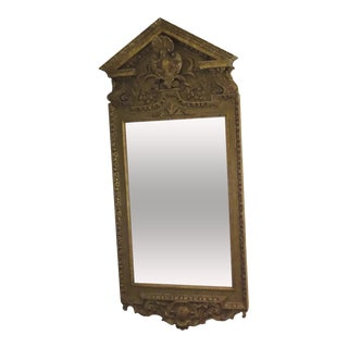 Large Gilt Georgian Style Mirror with Pediment c 1890 For Sale