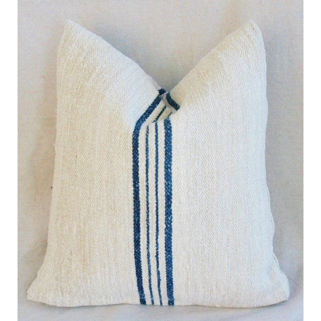 Blue Striped French Grain Sack Pillows - A Pair - Image 6 of 11