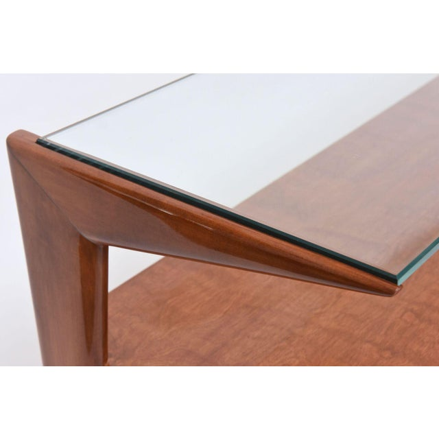 Italian Modern Walnut and Glass Top Two-Tiered Low Table, Paulo Buffa Attributed For Sale In Miami - Image 6 of 11