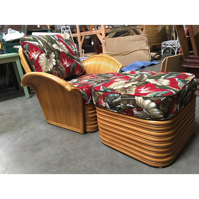 Rattan Fan Arm Lounge Chair With Ottoman Set For Sale - Image 9 of 9
