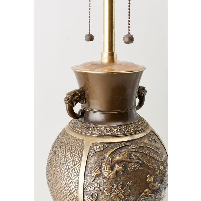 Japanese Bronze Urn Vase Mounted as Table Lamp For Sale - Image 10 of 13