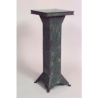 American Art Nouveau Patinated Metal & Filigree Overlaid Green Slag Glass Illuminated Pedestal