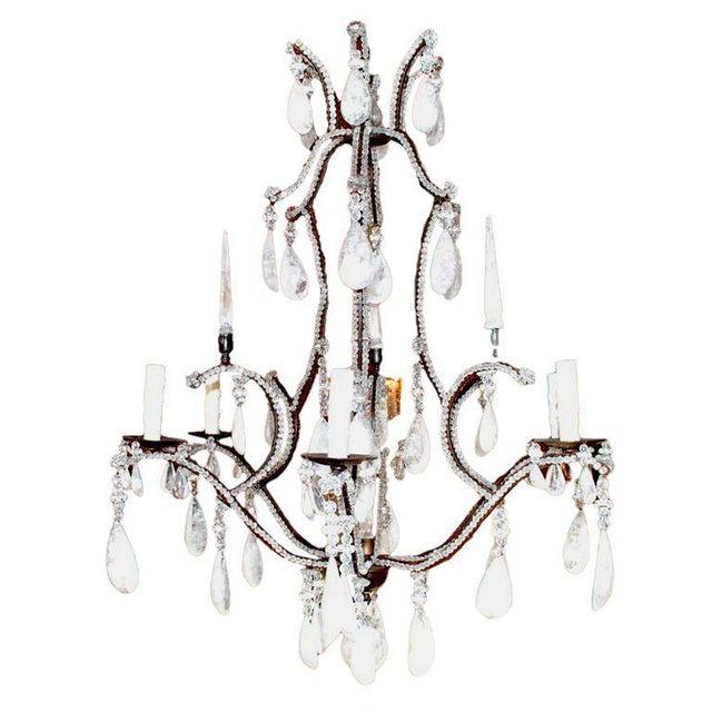 Large Six-Light Rock Crystal Chandelier For Sale - Image 10 of 10