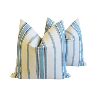 "New England Nautical Blue Striped Feather/Down Pillows 24"" - Pair"