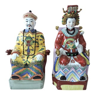 Vintage Chinese Emperor & Empress Seated Figures - Pair