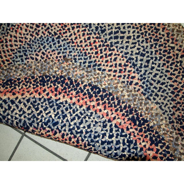 Textile 1920s handmade antique American braided rug 2.5' x 2.9' For Sale - Image 7 of 10