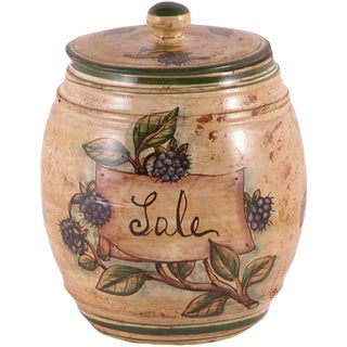 Italian Hand Painted Ceramic Sale Canister For Sale