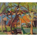 """Image of 20th Century """"City Through the Trees"""" Landscape Oil Painting For Sale"""