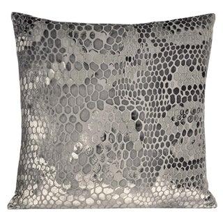 Silver Snakeskin Velvet Pillow