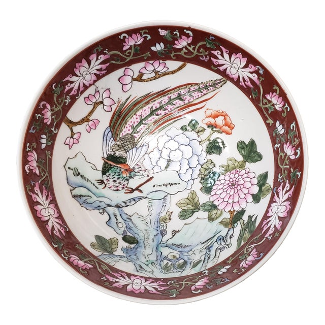 Mid 20th Century Chinese Famille Verte Porcelain Peacock/Floral Motifs Bowl For Sale