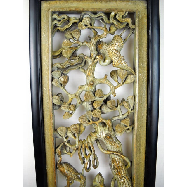 Asian Carved Wood Panels - A Pair - Image 7 of 8