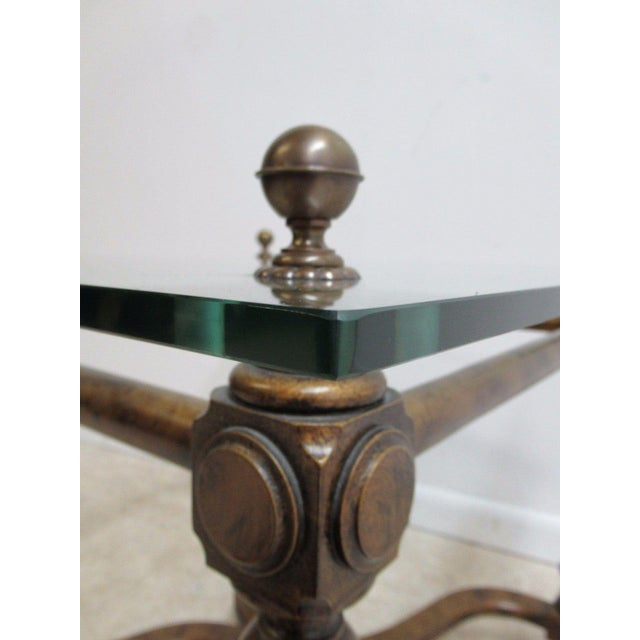Vintage French Regency Faux Painted Tortoise Shell Lamp End Table For Sale - Image 10 of 11
