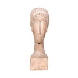 Austin Productions, After Modigliani, Head of a Woman, Terracotta Sculpture For Sale