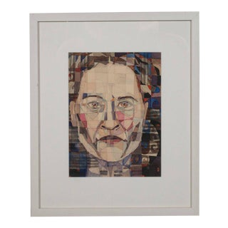 Modernist Abstract Portrait in Watercolor, Ink, and Pencil by Marshall Watkins