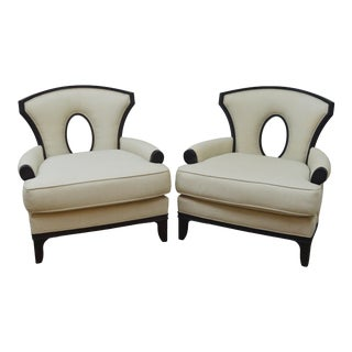 Pair Barbara Barry for Henredon Upholstered Arm Chairs For Sale