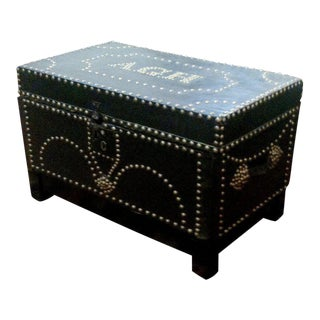 Early Leather Bound Trunk With Nickel Studs For Sale