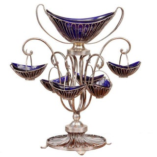 Sheffield Silver Plate Wire and Bristol Glass Epergne Centerpiece For Sale