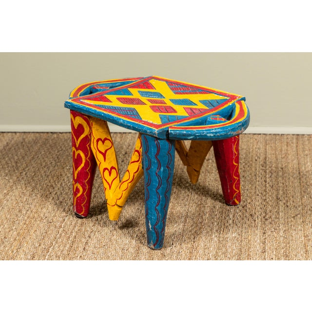 African Painted Wood Stool For Sale - Image 4 of 7