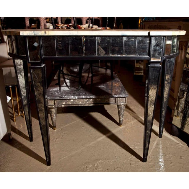 1940s Maison Jansen Mirrored Demilune Console Table For Sale - Image 5 of 6