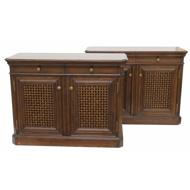 Jonathan Charles Woven Front Commodes - Pair - Image 1 of 4