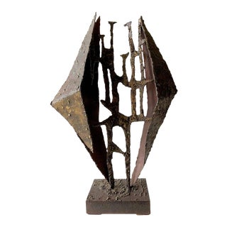 California Studio Abstract Brutalist Brass Sculpture For Sale