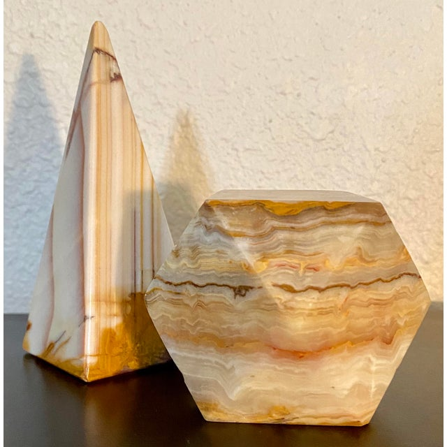 Gemstone Onyx Geometric Sculptural Desk Paperweights - a Pair For Sale - Image 7 of 7