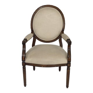 Country French Chenille Armchair For Sale