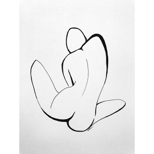 This original pen & ink drawing by textile designer and artist, Christy Almond, utilizes minimalist line work to...