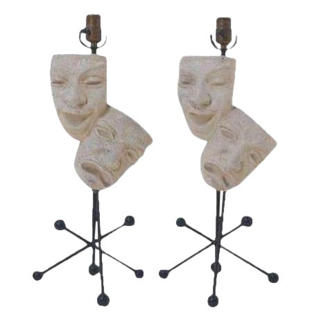 Marvelous Pair Of Frederic Weinberg Comedy And Tragedy Table Lamps Andrewgaddart Wooden Chair Designs For Living Room Andrewgaddartcom