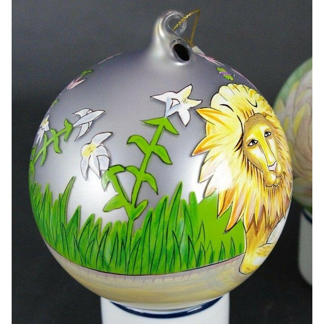 "Sacred Season Holiday Hand Painted ""Lion & Lamb"" Ornament Christmas Easter For Sale - Image 4 of 8"