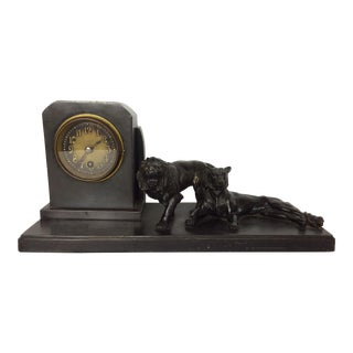 1930s Antique Bronze Clock With Patinated Bronze Lions For Sale