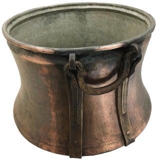 Antique Hand-Hammered Copper Cauldron With Forged-Bronze Handles For Sale