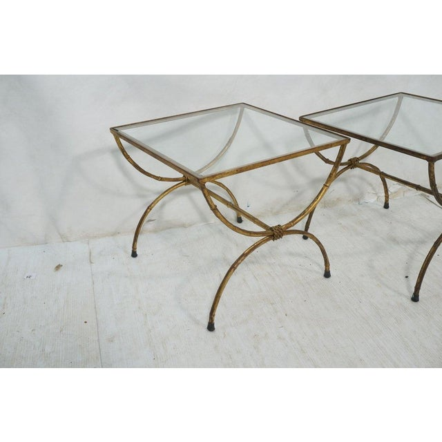 Hollywood Regency Gilt Iron Side Tables - Pair - Image 3 of 4
