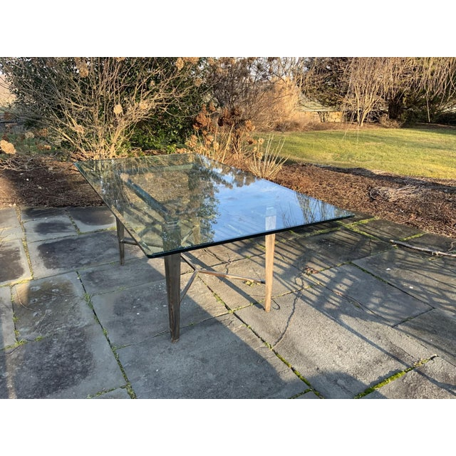 Metal Vintage Glass Top and Steel Rectangular Dining Table For Sale - Image 7 of 12