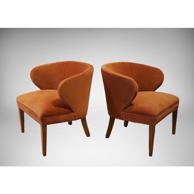 1960s Apricot Velvet Scandinavian Armchairs - A Pair - Image 2 of 6