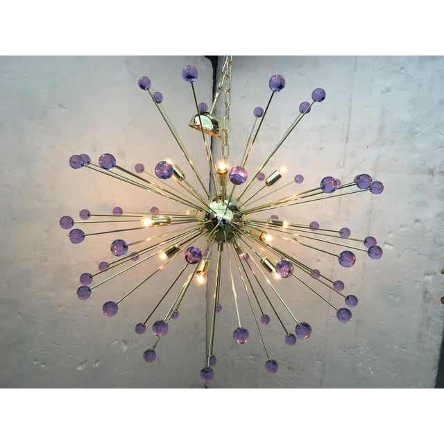 Murano Glass Sputnik Metal Frame Gold Chandelier For Sale - Image 6 of 10