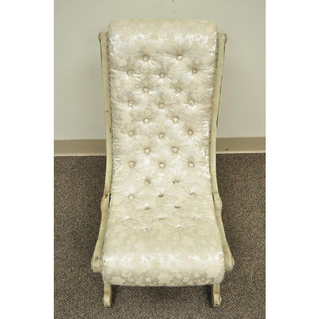 Antique Small Victorian Tufted Carved Wood Distress Painted Slipper Accent Chair - Image 2 of 11