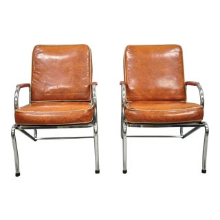 Art Deco Tubular Chrome Red Vinyl Club Lounge Arm Chairs - A Pair For Sale
