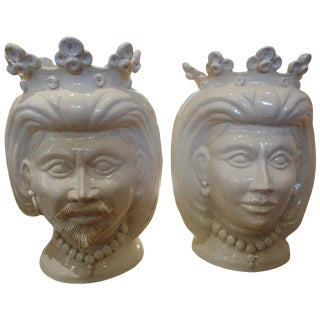 20th Century Italian Glazed Terra Cotta Bust Jardinieres - a Pair For Sale