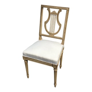 Painted Antique French Leer Back Chair For Sale