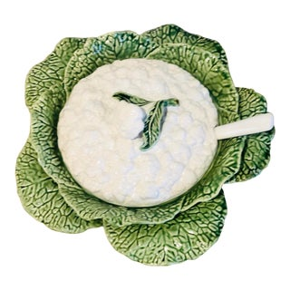 Majolica Cauliflower and Cabbage Design Soup Tureen For Sale
