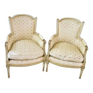 18th Century Neoclassical Bergere Cabriolet Arm Chairs - a Pair For Sale