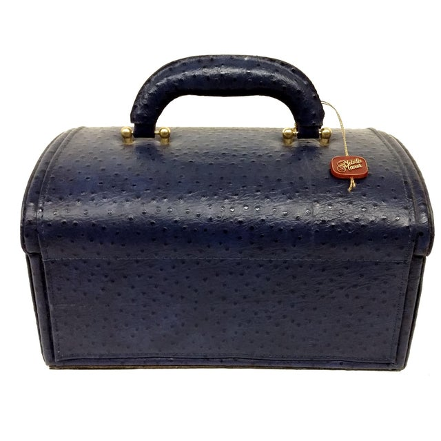 Vintage Ostrich Leather Jewelry Travel Case - Image 6 of 10