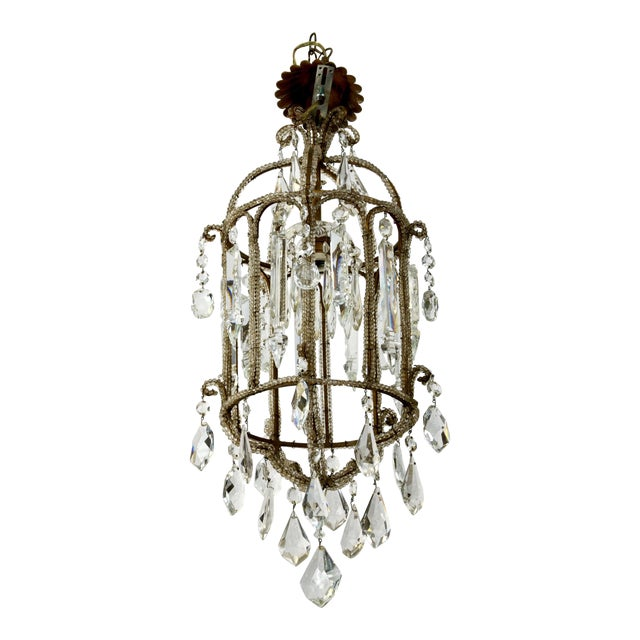 French Crystal Lantern Style Chandelier with Beading - Image 1 of 5