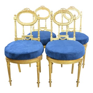 Antique Giltwood Chairs With Blue Velvet Cushions Set of 4 For Sale